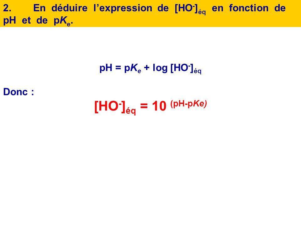 2. En déduire l'expression de [HO-]éq en fonction de pH et de pKe.